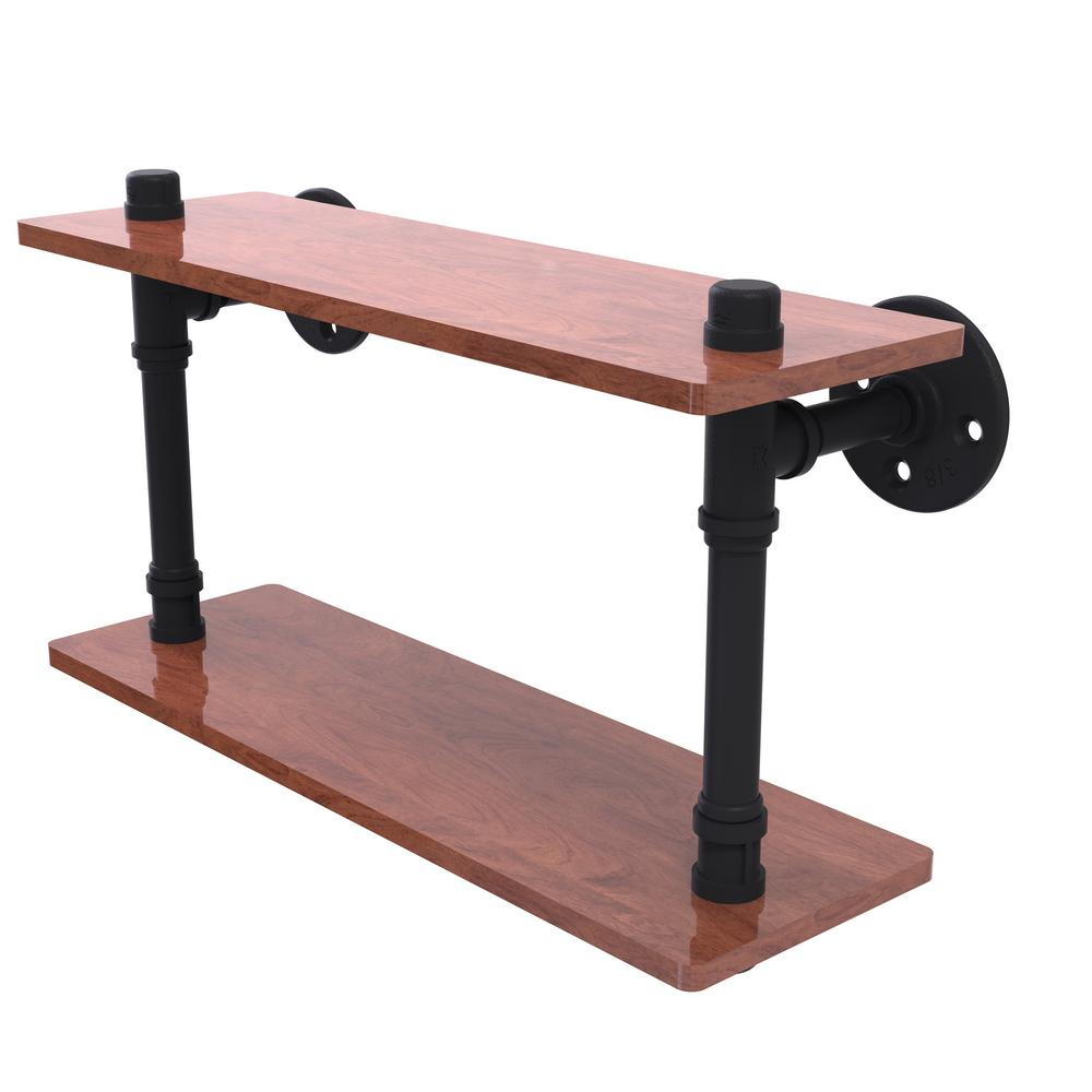 Allied Brass Pipeline Collection 16 in. Ironwood Double Shelf in Matte Black