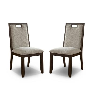 Terraview Dark Walnut and Beige Side Chairs (Set of 2)