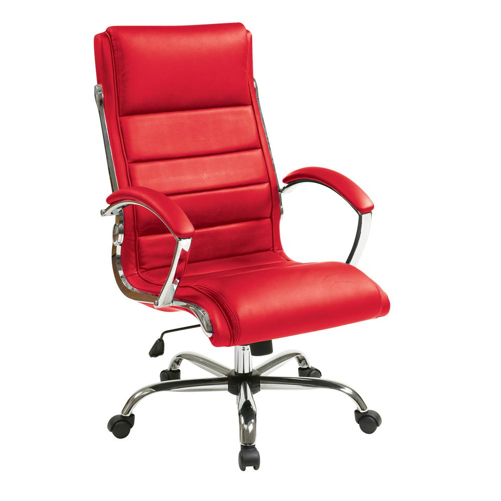 Work Smart Red Faux Leather Executive Chair