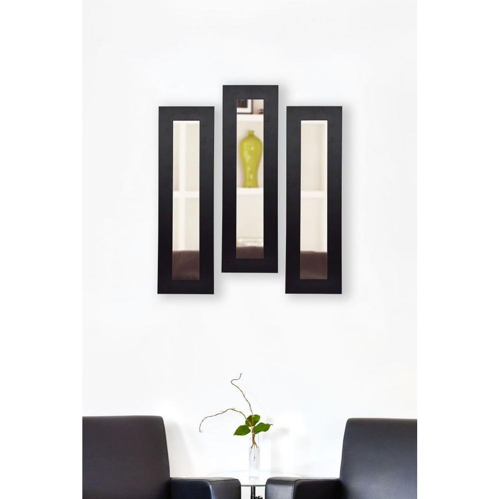 11.5 inch x 29.5 inch Black Satin Wide Vanity Mirror (Set of 3-Panels) by