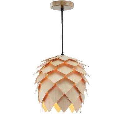 Simon 11.75 in. 1-Light Natural/Black Pinecone Wood LED Pendant