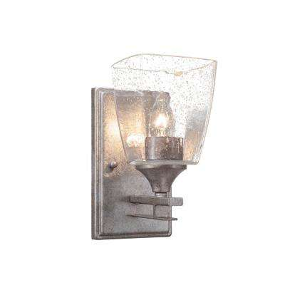 6 in. Aged Silver Sconce with 4.5 in. White Muslin Glass