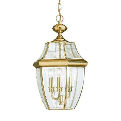 Lancaster 3-Light Polished Brass Outdoor Hanging Pendant