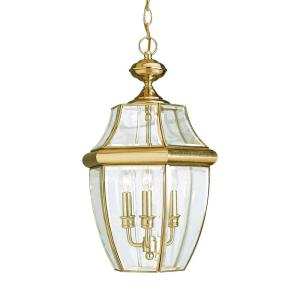 Lancaster 3-Light Polished Brass Outdoor Hanging Pendant with Dimmable Candelabra LED Bulb