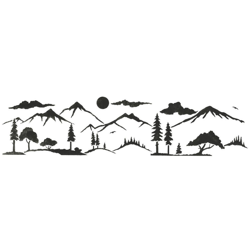 Mountain Silhouette Landscape Wall Stencil