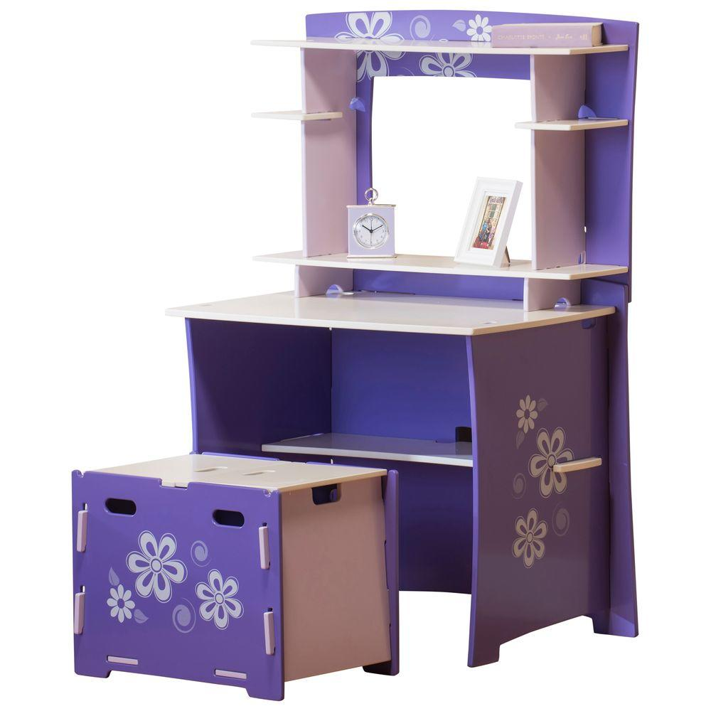 RST Brands Legare Flower Power Desk in Purple and White