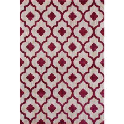 Modern Moraccan Trellis Red 5 ft. 3 in. x 7 ft. 3 in. Soft Area Rug