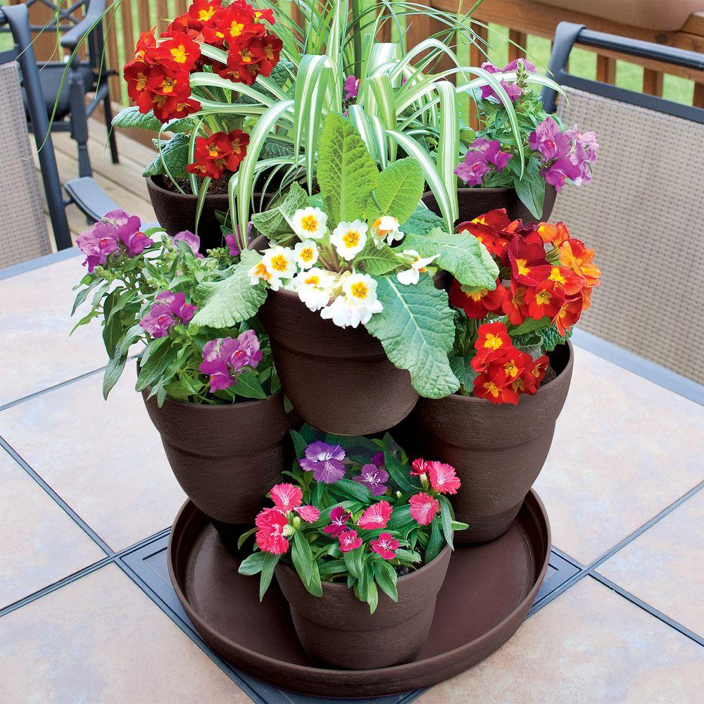 Emsco 13 In 3 Tier Resin Flower And Herb Vertical Gardening Planter Brown