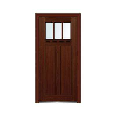 36 in. x 80 in. Craftsman Low-E Glass Left-Hand 2-Panel 3-Lite Stained Fiberglass Fir Prehung Front Door with Shelf