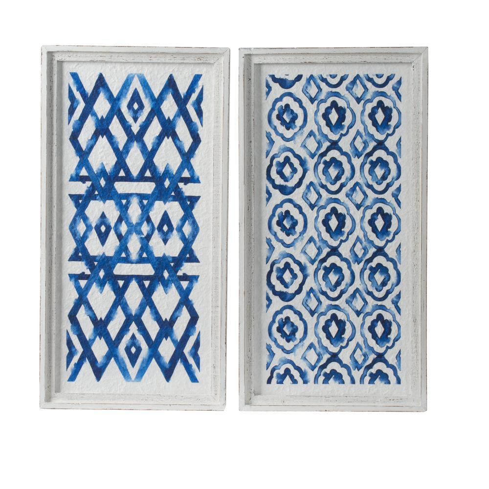A B Home White And Indigo Wall Decor Set Of 4 44741 The Home Depot