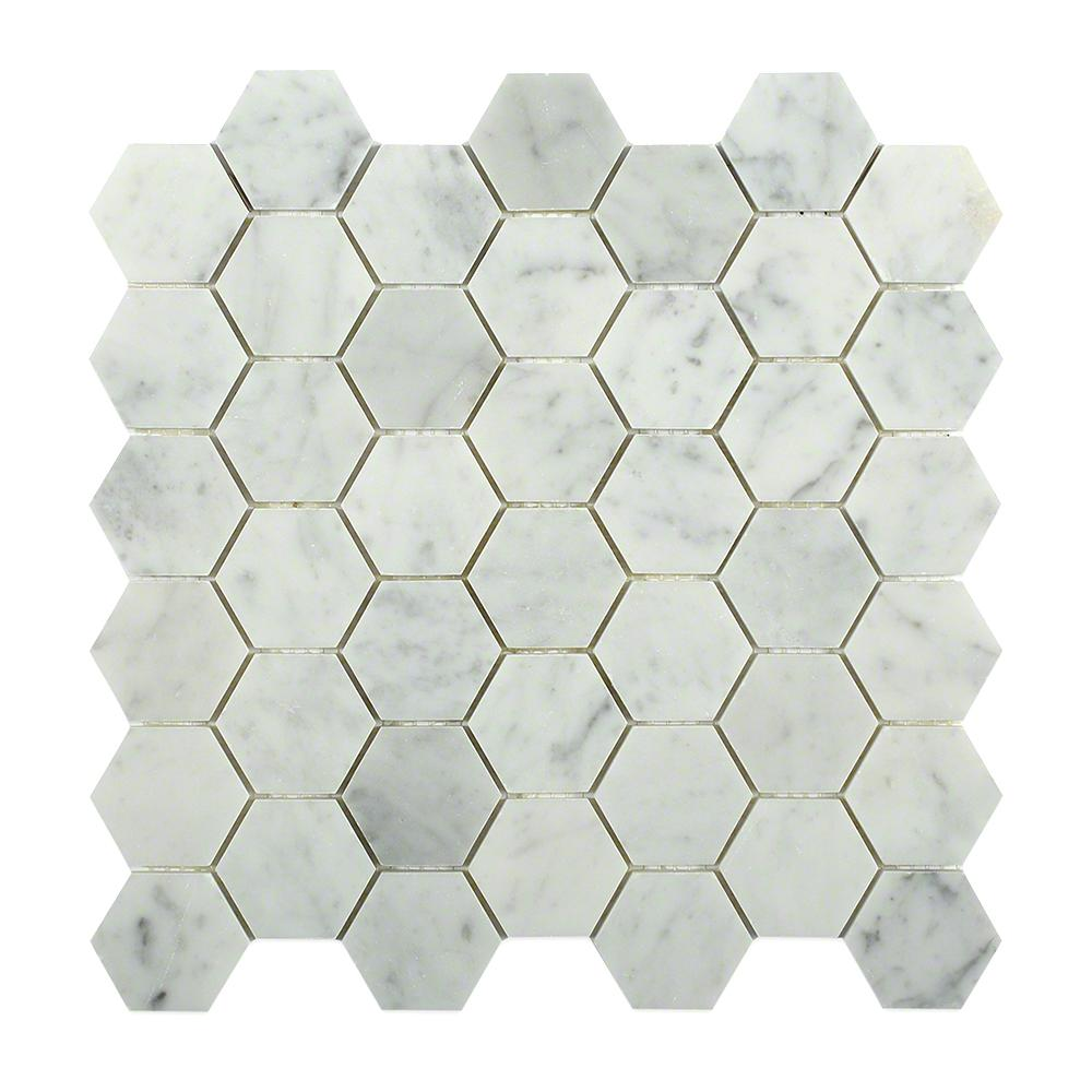 Splashback Tile Hexagon White Carrera 12 in. x 12 in. x 8 mm Floor ...