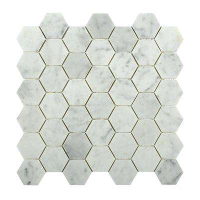 Hexagon White Carrera 12 In. X 12 In. X 8 Mm Floor And Wall