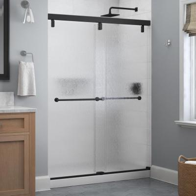 Lyndall 60 in. x 71-1/2 in. Frameless Mod Soft-Close Sliding Shower Door in Matte Black with 1/4 in. (6 mm) Rain Glass