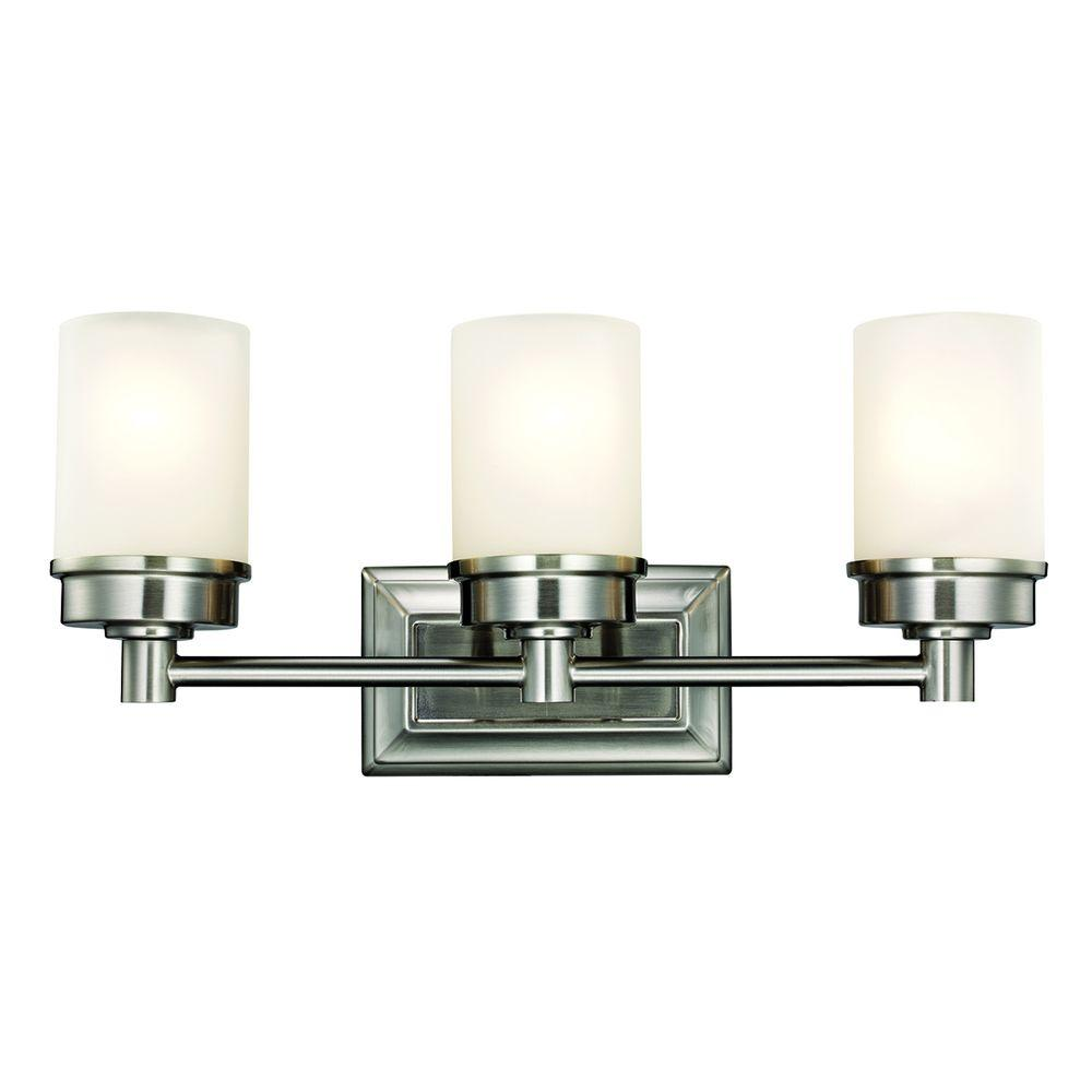 Transitional 3-Light Brushed Nickel Vanity Light with ... - Vanity Lighting - Lighting - The Home Depot