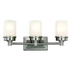 Transitional 3 Light Brushed Nickel Vanity With Frosted Glass Shades Hampton Bay