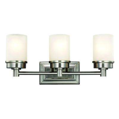 Transitional 3-Light Brushed Nickel Vanity Light with Frosted Glass Shades