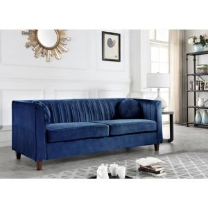 Lowery velvet Kitts Classic Chesterfield Sofa Dark Blue
