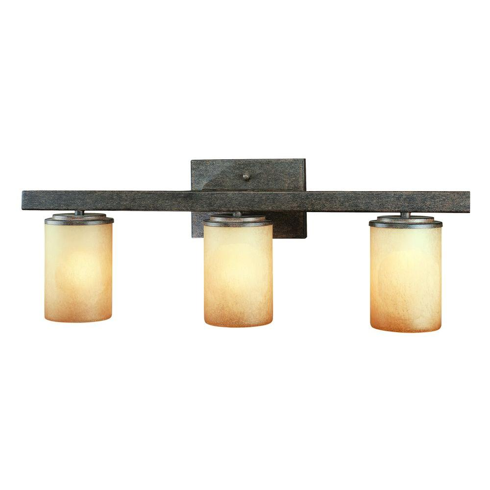 Hampton Bay Alta Loma 3 Light Dark Ridge Bronze Bath Light 25056 The Home Depot