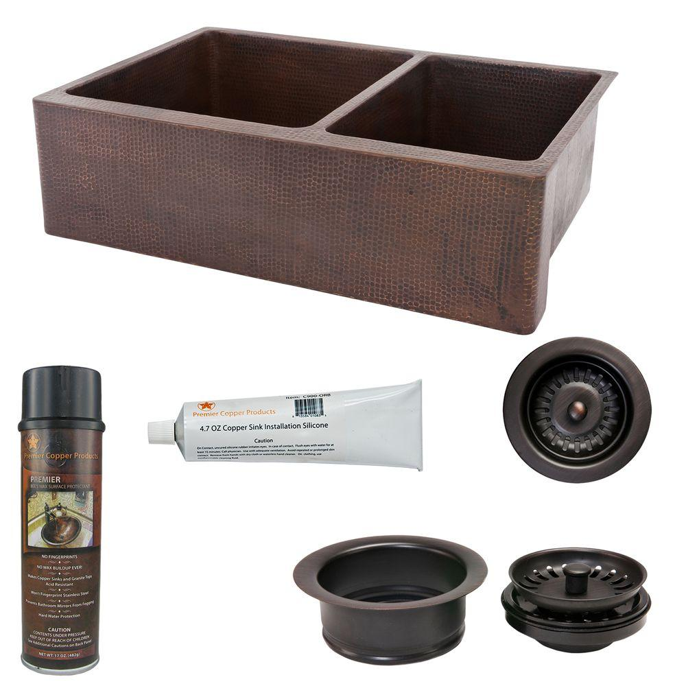 Premier Copper Products Undermount Hammered 33 In 0 Hole Double Bowl Kitchen Sink