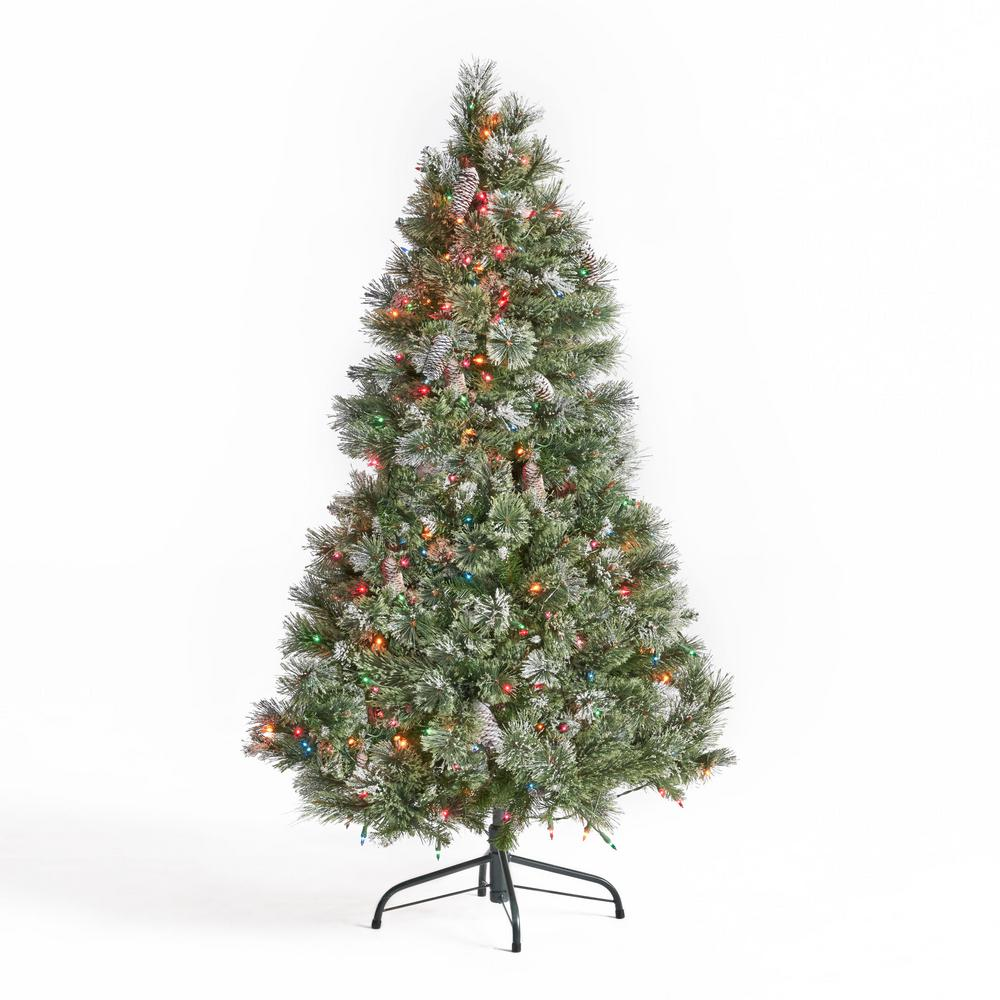 Noble House 4.5 ft. Pre-Lit Mixed Spruce Hinged Artificial Christmas Tree with Multi-Colored ...