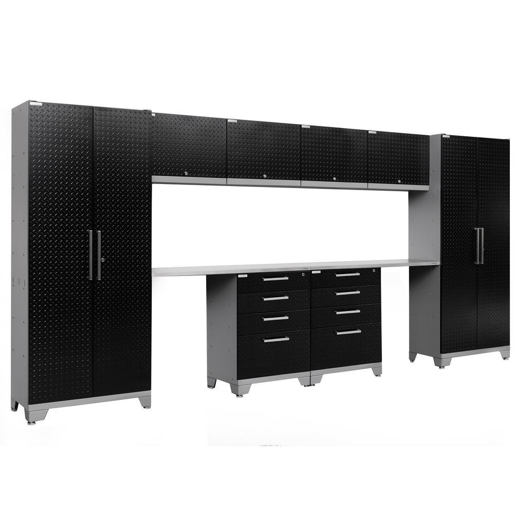 Performance Diamond Plate 2.0 72 in. H x 156 in. W x 18 in. D Garage Cabinet Set in Black (10-Piece)