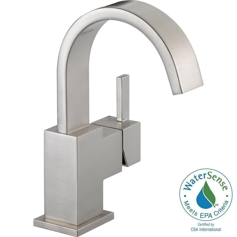 Delta Vero Single Hole Handle Bathroom Faucet With Metal Drain Embly In Stainless