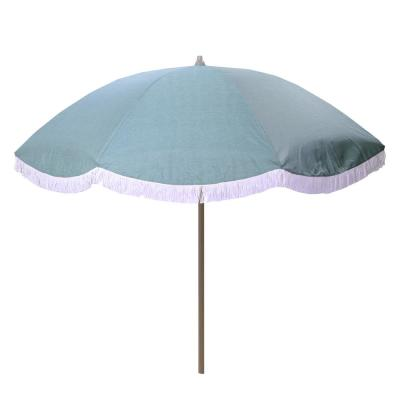 8 ft. Aluminum Drape Tilt Patio Umbrella in Spa with Fringe