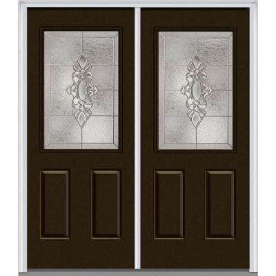 72 in. x 80 in. Heirloom Master Right-Hand Inswing 1/2-Lite Decorative Painted Fiberglass Smooth Prehung Front Door