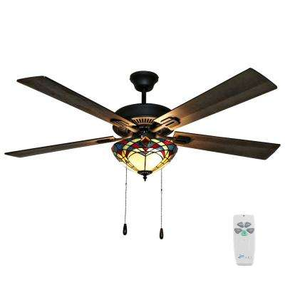 Braxton 52 in. Bronze Mission Stained Glass Ceiling Fan with Light and Remote Control