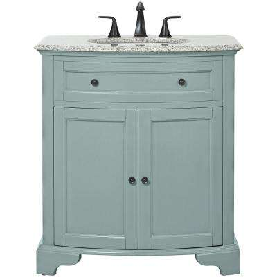Hamilton 31 in. W Vanity in Sea Glass with Granite Vanity Top in Grey with White Sink