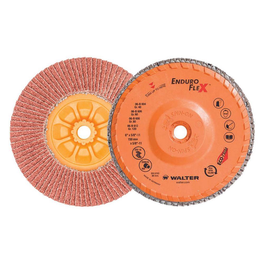 ENDURO-FLEX 6 in. x 5/8-11 in. Arbor GR40 The Longest Life Flap Disc (10-Pack)