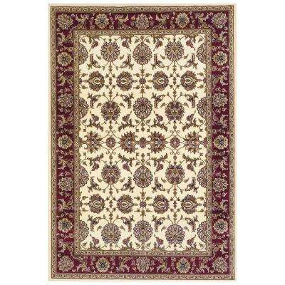 Traditional Kashan Ivory/Red 5 ft. 3 in. x 7 ft. 7 in. Area Rug