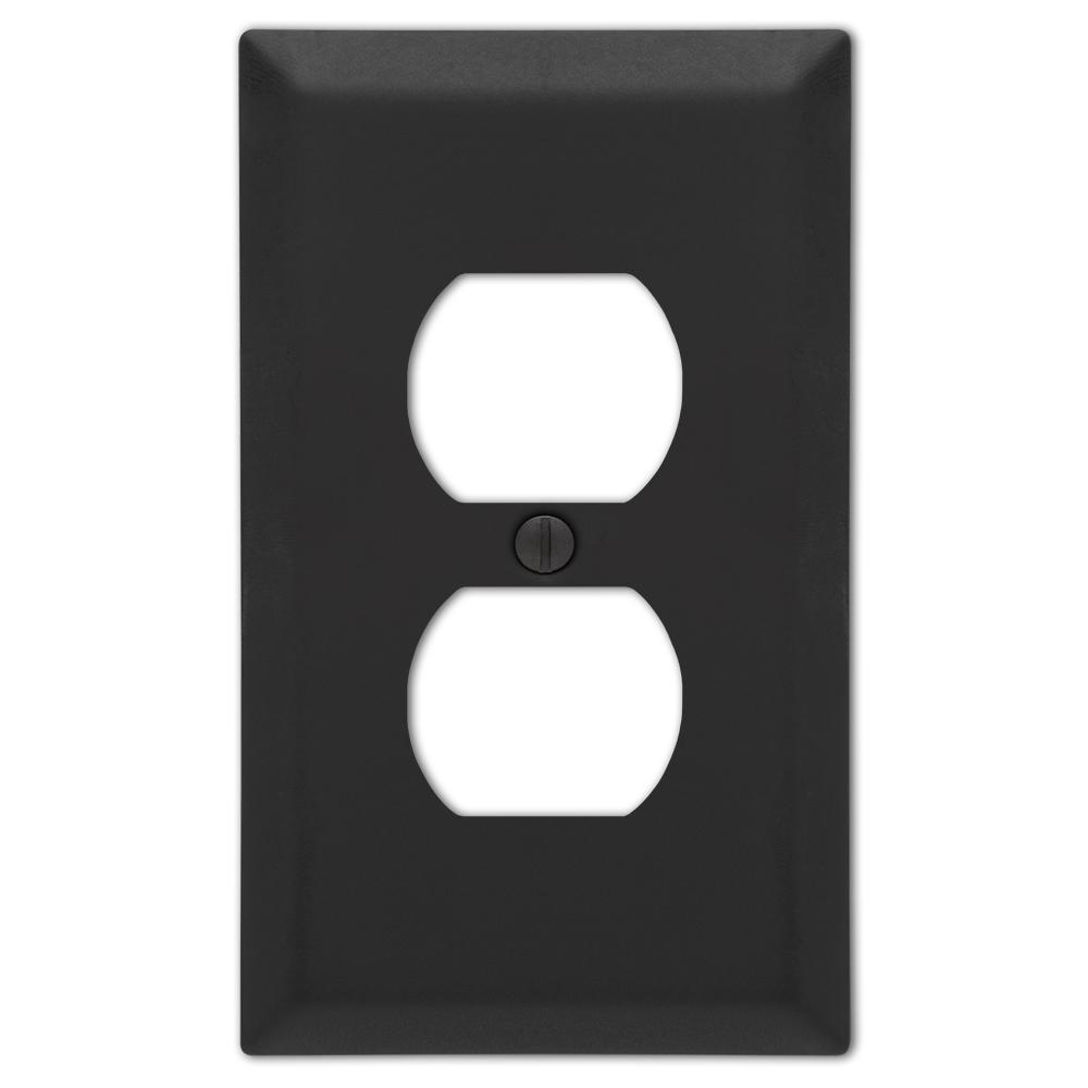 Metallic 1 Gang Duplex Steel Wall Plate - Black