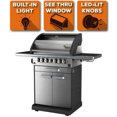 4-Burner Liquid Propane Fingerprint Resistant Grill with Warming Drawer & Side Burner in Stainless Steel, 10 Yr Warranty