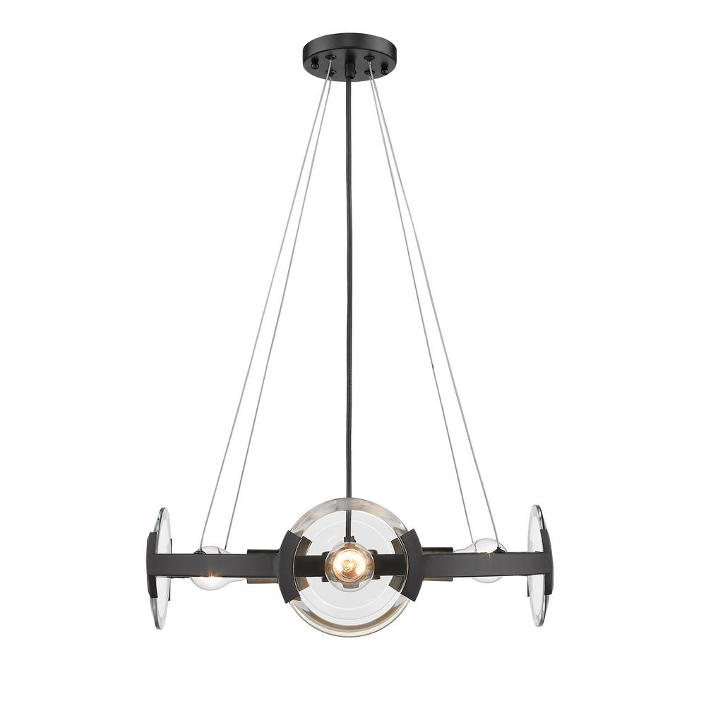 Amari 4 Light Black with Aged Brass Accents Chandelier
