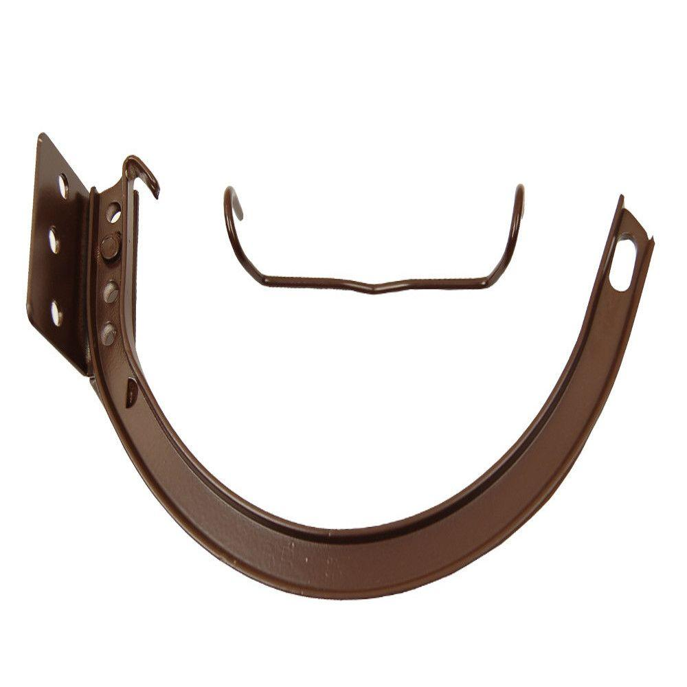 6 in. Royal Brown Aluminum Half-Round Hanger #10 Combination Circle and