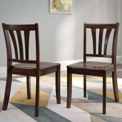 Dillon Cappuccino Stained Solid Wood Curved Vertical Salt Backrest Dining Chairs (Set of 2)