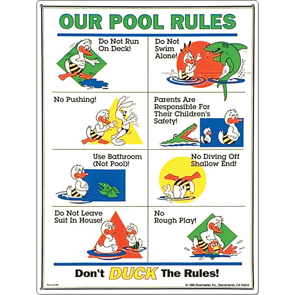 Poolmaster Don\'t Duck the Rules Swimming Pool Sign