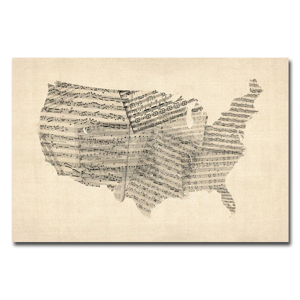 Trademark Fine Art 30 In X 47 In Usa Old Sheet Music Map Canvas Art Mt0052 C3047gg The Home