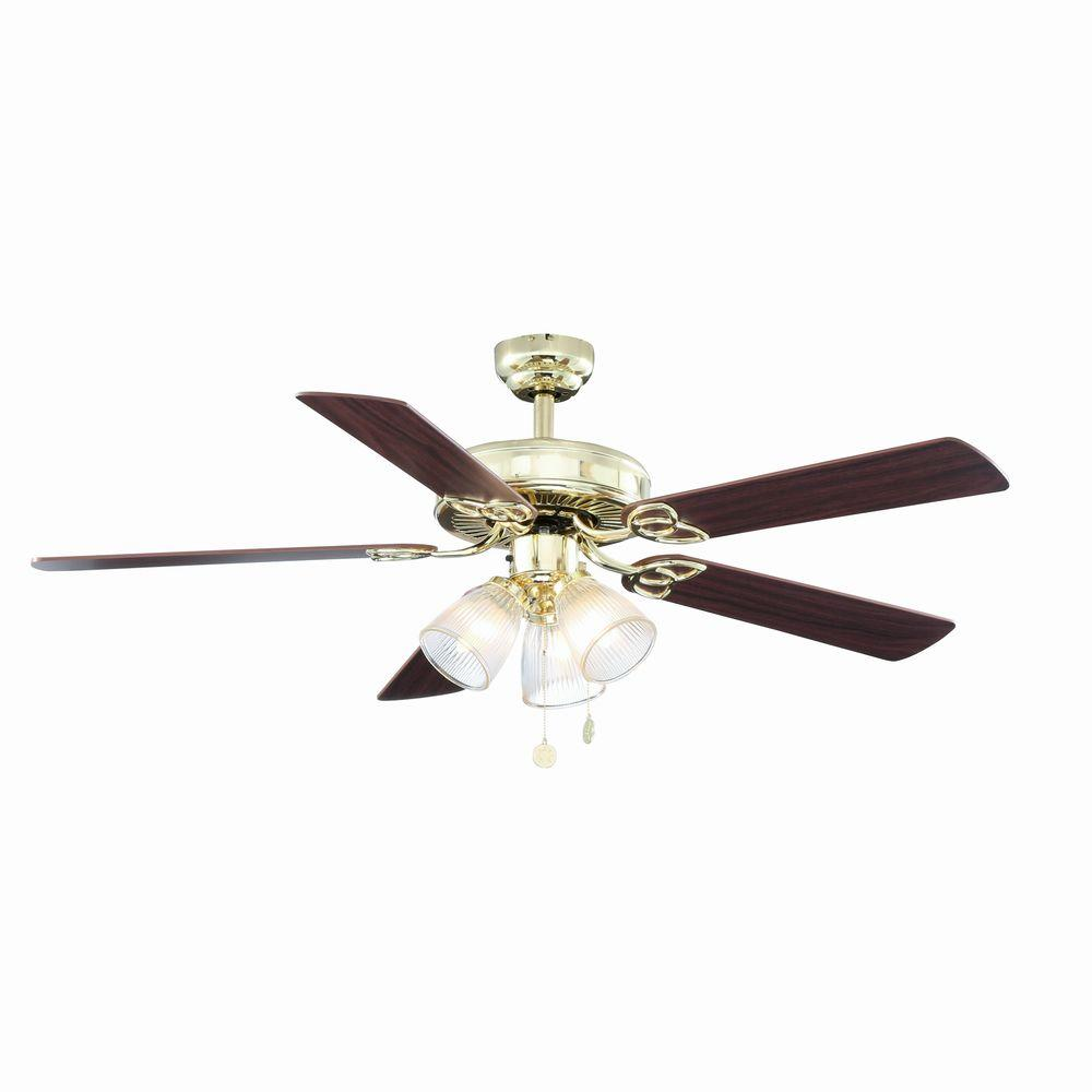 Vintage 52 In Polished Br Ceiling Fan
