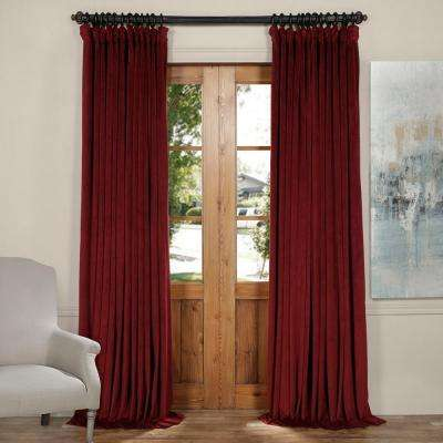 Blackout signature burgundy doublewide blackout velvet curtain 100 in w x 120 in