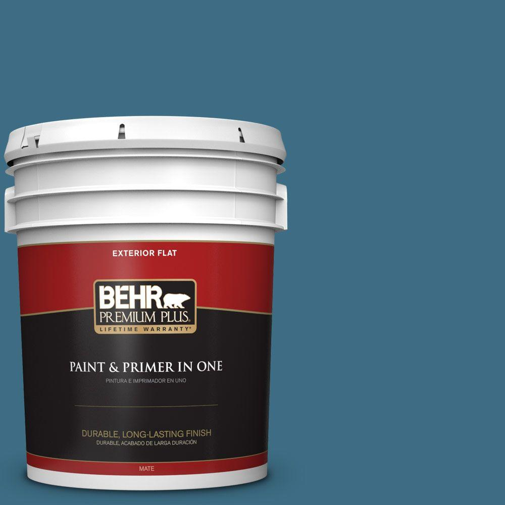 5 gal. #S490-6 Bering Wave Flat Exterior Paint and Primer in