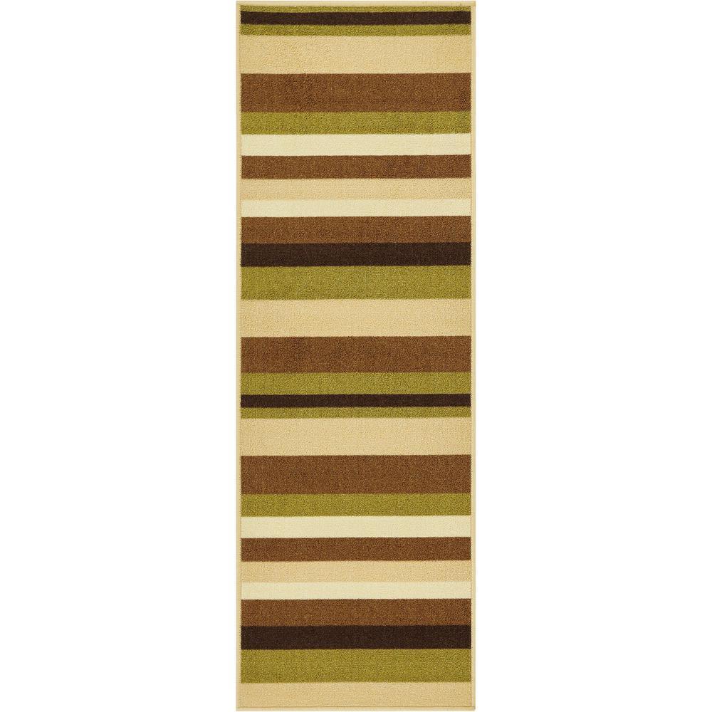 Kings Court Uni Stripes Green 3 ft. x 12 ft. Modern Geometric Runner Rug