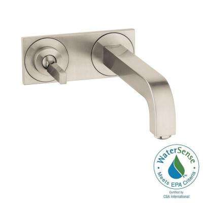 Citterio Single-Handle Wall Mount Bathroom Faucet with Low-Arc and Baseplate in Brushed Nickel