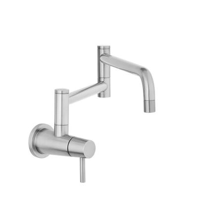 Modern Single-Handle Wall-Mount Pot Filler Faucet in Stainless Steel