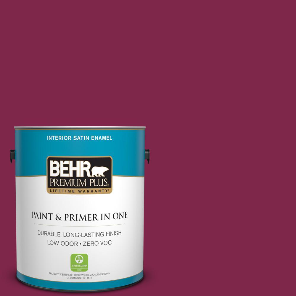 BEHR Premium Plus 1-gal. #120D-7 Ruby Red Zero VOC Satin Enamel Interior Paint