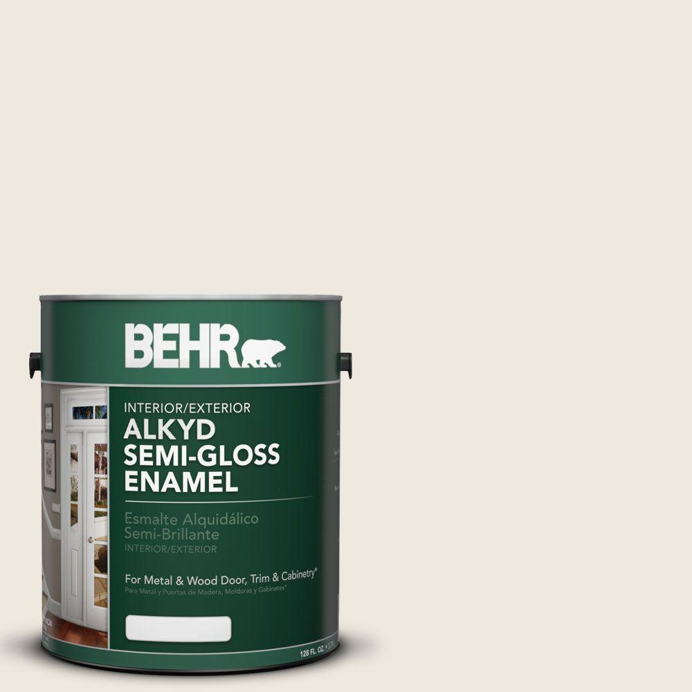 BEHR 1 gal. White Alkyd Semi-Gloss Enamel Interior/Exterior Paint ...