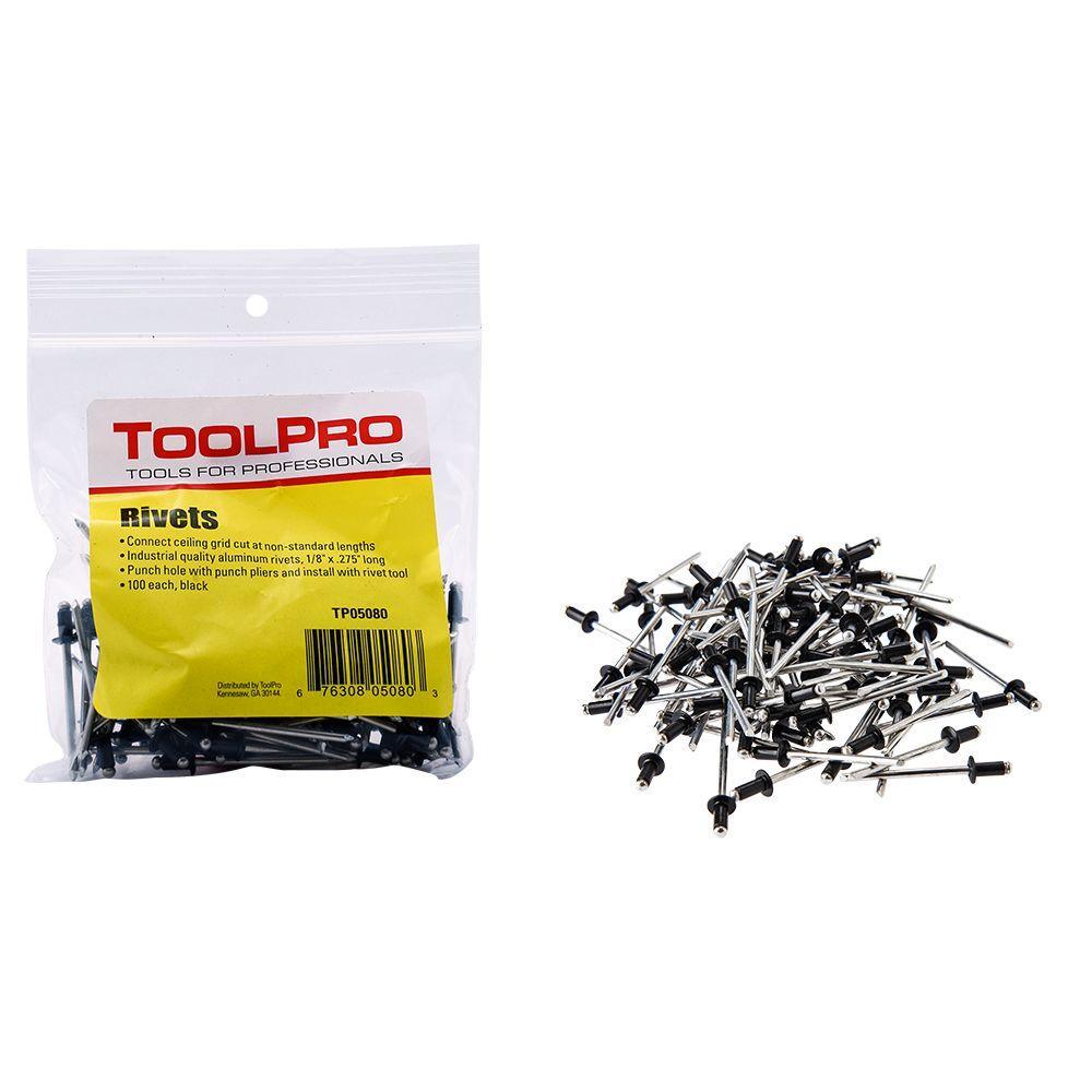 ToolPro 1/8 in  Black Aluminum Pull Rivets (100-Pieces)