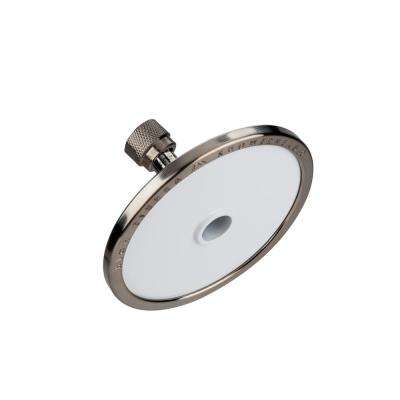 Tenaya PLUS 1-Spray 5 in. Round Fixed Showerhead with All Metal Construction in Powder Coated White with Nickel Accents