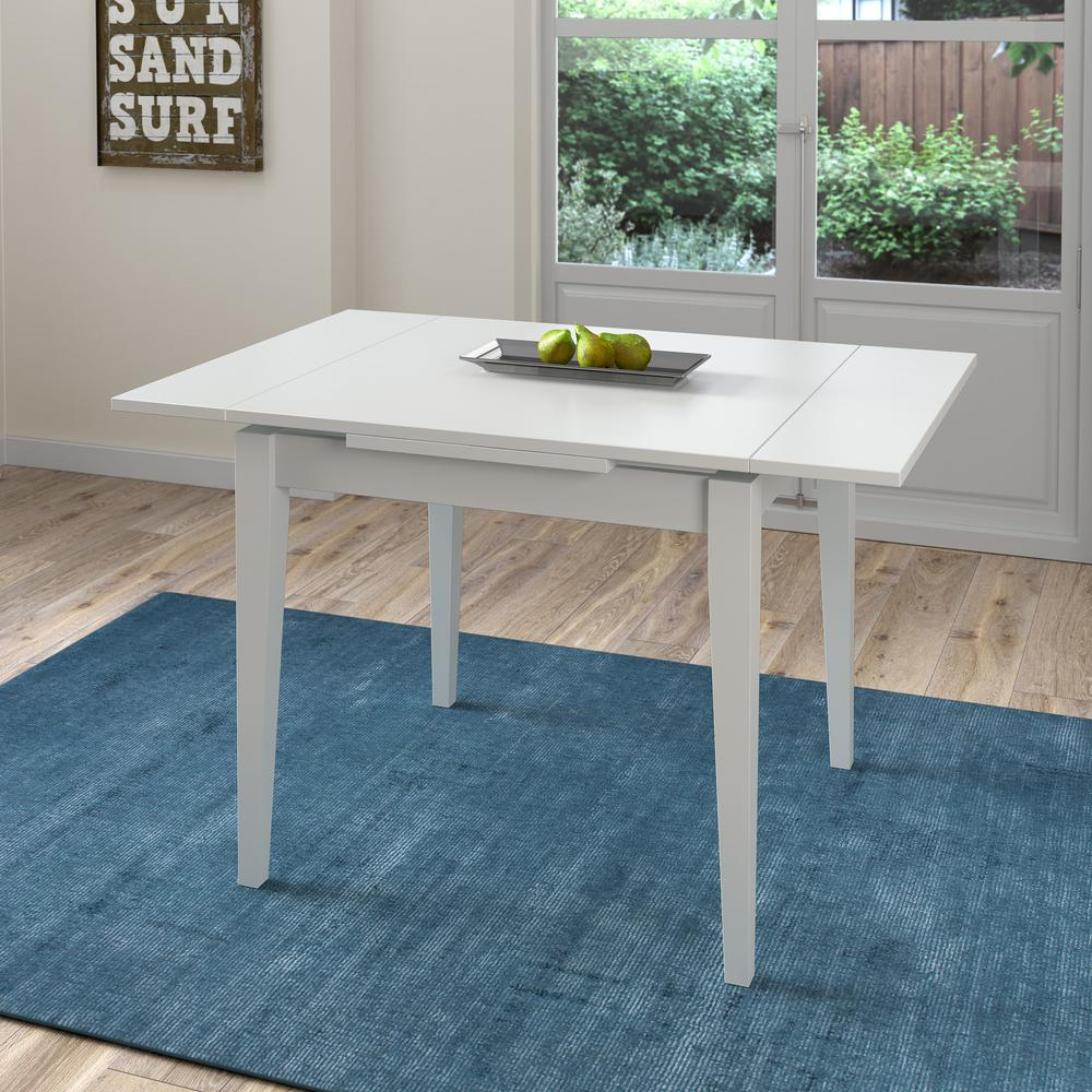 Captivating CorLiving Dillon White Wood Extendable Dining Table